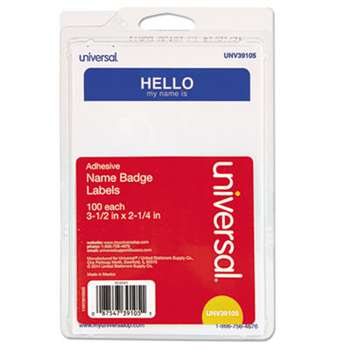 "UNIVERSAL OFFICE PRODUCTS ""Hello"" Self-Adhesive Name Badges, 3 1/2 x 2 1/4, White/Blue, 100/Pack"