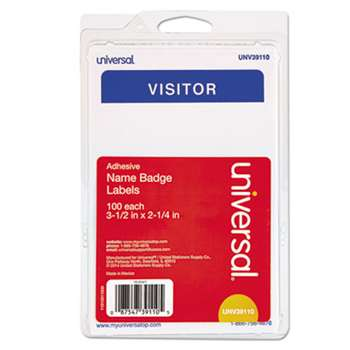 "UNIVERSAL OFFICE PRODUCTS ""Visitor"" Self-Adhesive Name Badges, 3 1/2 x 2 1/4, White/Blue, 100/Pack"