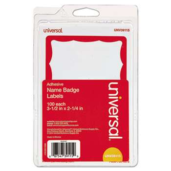 UNIVERSAL OFFICE PRODUCTS Border-Style Self-Adhesive Name Badges, 3 1/2 x 2 1/4, White/Red, 100/Pack