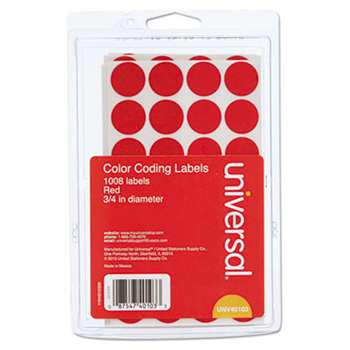 "UNIVERSAL OFFICE PRODUCTS Self-Adhesive Removable Color-Coding Labels, 3/4"" dia, Red, 1008/Pack"