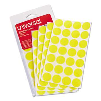 "UNIVERSAL OFFICE PRODUCTS Self-Adhesive Removable Color-Coding Labels, 3/4"" dia, Yellow, 1008/Pack"