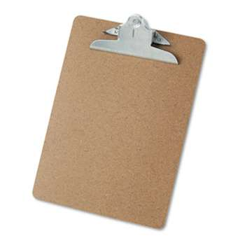 "UNIVERSAL OFFICE PRODUCTS Hardboard Clipboard, 1"" Capacity, Holds 8 1/2 x 11, Brown"