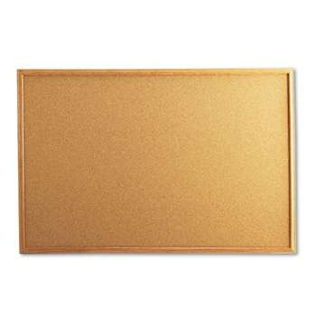 UNIVERSAL OFFICE PRODUCTS Cork Board with Oak Style Frame, 36 x 24, Natural, Oak-Finished Frame