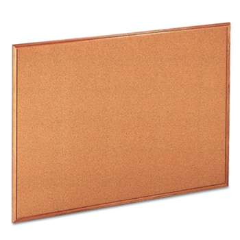 UNIVERSAL OFFICE PRODUCTS Cork Board with Oak Style Frame, 48 x 36, Natural, Oak-Finished Frame