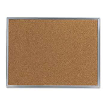 UNIVERSAL OFFICE PRODUCTS Bulletin Board, Natural Cork, 24 x 18, Satin-Finished Aluminum Frame