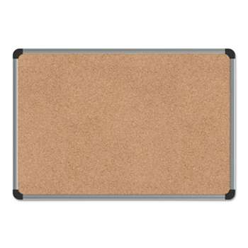 UNIVERSAL OFFICE PRODUCTS Cork Board with Aluminum Frame, 24 x 18, Natural, Silver Frame