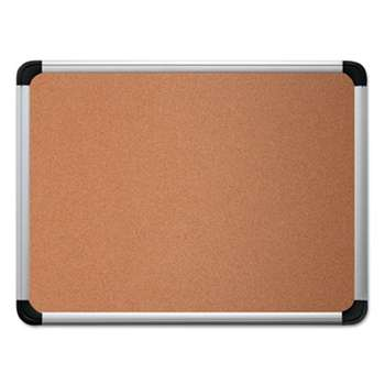 UNIVERSAL OFFICE PRODUCTS Cork Board with Aluminum Frame, 36 x 24, Natural, Silver Frame