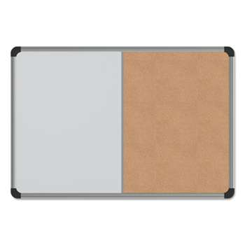 UNIVERSAL OFFICE PRODUCTS Cork/Dry Erase Board, Melamine, 24 x 18, Black/Gray Aluminum/Plastic Frame