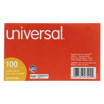 UNIVERSAL OFFICE PRODUCTS Unruled Index Cards, 3 x 5, White, 100/Pack