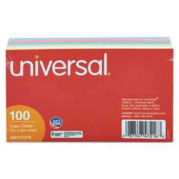 UNIVERSAL OFFICE PRODUCTS Index Cards, 3 x 5, Blue/Violet/Green/Cherry/Canary, 100/Pack