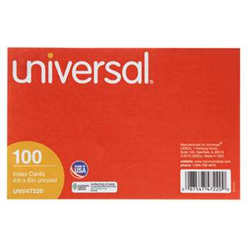 UNIVERSAL OFFICE PRODUCTS Unruled Index Cards, 4 x 6, White, 100/Pack