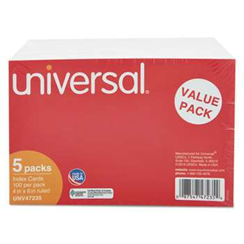 UNIVERSAL OFFICE PRODUCTS Ruled Index Cards, 4 x 6, White, 500/Pack