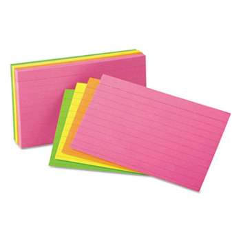 UNIVERSAL OFFICE PRODUCTS Ruled Neon Glow Index Cards, 4 x 6, Assorted, 100/Pack