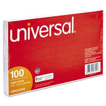 UNIVERSAL OFFICE PRODUCTS Unruled Index Cards, 5 x 8, White, 100/Pack