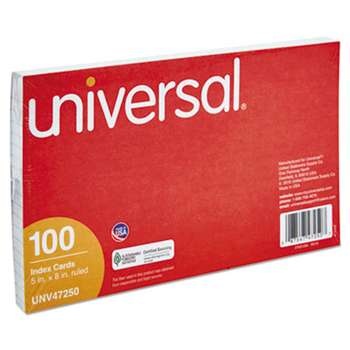 UNIVERSAL OFFICE PRODUCTS Ruled Index Cards, 5 x 8, White, 100/Pack