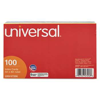 UNIVERSAL OFFICE PRODUCTS Index Cards, 5 x 8, Blue/Salmon/Green/Cherry/Canary, 100/Pack