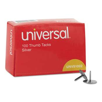 "UNIVERSAL OFFICE PRODUCTS Thumb Tacks, Steel, Silver, 5/16"", 100/Box"