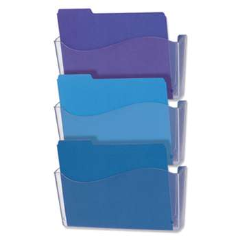 UNIVERSAL OFFICE PRODUCTS 3 Pocket Wall File Starter Set, Letter, Clear