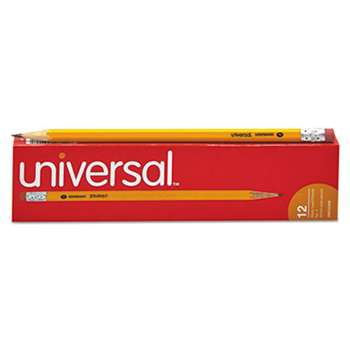 UNIVERSAL OFFICE PRODUCTS Economy Woodcase Pencil, HB #2, Yellow, Dozen