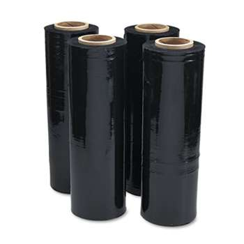 "UNIVERSAL OFFICE PRODUCTS Black Stretch Film, 18"" x 1, 500ft Roll, 20mic (80-Gauge), 4/Carton"