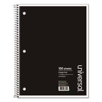 UNIVERSAL OFFICE PRODUCTS 1 Sub. Wirebound Notebook, 11 x 8 1/2, College Rule, 100 Sheets, Black Cover