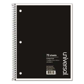 Universal 66610 Wirebound Notebook, 8 x 10-1/2, College Ruled, 70 Sheets, Assorted Color Cover