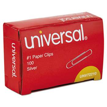 UNIVERSAL OFFICE PRODUCTS Paper Clips, Smooth Finish, No. 1, Silver, 100/Box