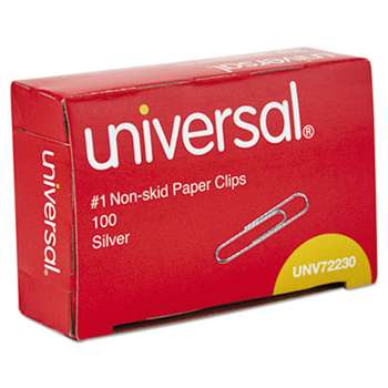 UNIVERSAL OFFICE PRODUCTS Nonskid Paper Clips, Wire, No. 1, Silver, 1000/Pack