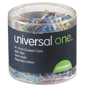UNIVERSAL OFFICE PRODUCTS Vinyl-Coated Wire Paper Clips, No. 1, Assorted Colors, 500/Pack