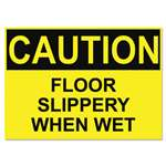 U. S. STAMP & SIGN OSHA Safety Signs, CAUTION SLIPPERY WHEN WET, Yellow/Black, 10 x 14