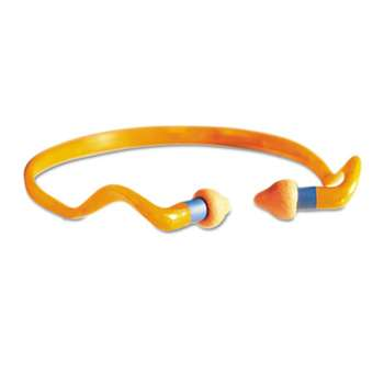 HONEYWELL ENVIRONMENTAL QB2HYG Banded Multi-Use Earplugs, 25NRR, Orange Band/Orange Plug, 10/Box