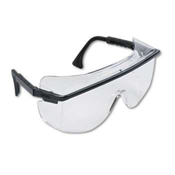 HONEYWELL ENVIRONMENTAL Astro OTG 3001 Wraparound Safety Glasses, Black Plastic Frame, Clear Lens