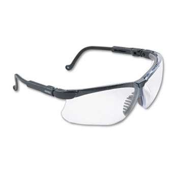 HONEYWELL ENVIRONMENTAL Genesis Wraparound Safety Glasses, Black Plastic Frame, Clear Lens