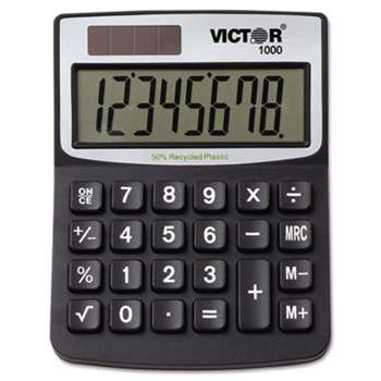 VICTOR TECHNOLOGIES 1000 Minidesk Calculator, Solar/Battery, 8-Digit LCD