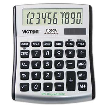 VICTOR TECHNOLOGIES 1100-3A Antimicrobial Compact Desktop Calculator, 10-Digit LCD