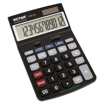 VICTOR TECHNOLOGIES 1180-3A Antimicrobial Desktop Calculator, 12-Digit LCD