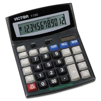 VICTOR TECHNOLOGIES 1190 Executive Desktop Calculator, 12-Digit LCD