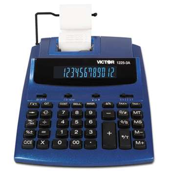 VICTOR TECHNOLOGIES 1225-3A Antimicrobial Two-Color Printing Calculator, Blue/Red Print, 3 Lines/Sec
