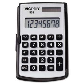 VICTOR TECHNOLOGIES 908 Portable Pocket/Handheld Calculator, 8-Digit LCD