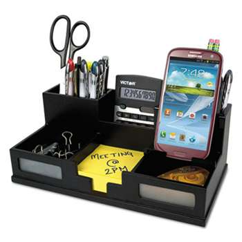 VICTOR SYSTEMS/KARDEX Midnight Black Desk Organizer with Smartphone Holder, 10 1/2 x 5 1/2 x 4, Wood
