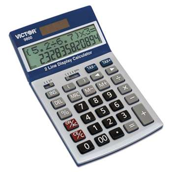 VICTOR TECHNOLOGIES 9800 2-Line Easy Check Display Calculator, 12-Digit, LCD