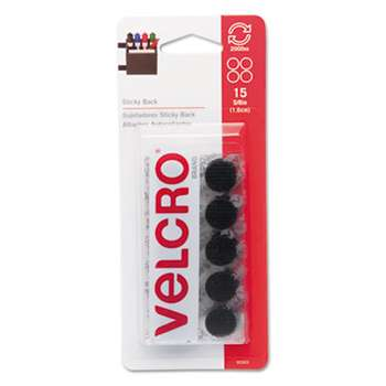 VELCRO USA, INC. Sticky-Back Hook and Loop Dot Fasteners on Strips, 5/8 dia., Black, 15 Sets/Pack