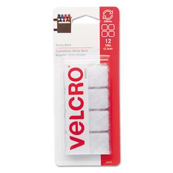 "VELCRO USA, INC. Sticky-Back Hook and Loop Square Fasteners on Strips, 7/8"", White, 12 Sets/Pack"
