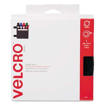 VELCRO USA, INC. Sticky-Back Hook and Loop Fastener Tape with Dispenser, 3/4 x 15 ft. Roll, Black
