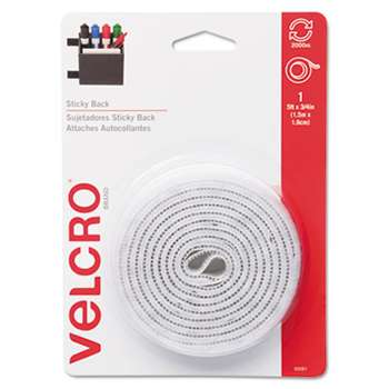 VELCRO USA, INC. Sticky-Back Hook and Loop Fastener Tape with Dispenser, 3/4 x 5 ft. Roll, White