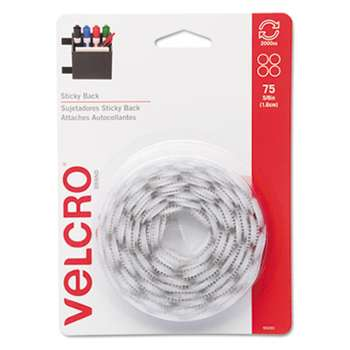 VELCRO USA, INC. Sticky-Back Hook and Loop Dot Fasteners, 5/8 Inch, White, 75/Pack