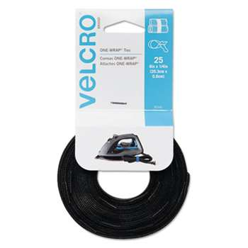 VELCRO USA, INC. Reusable Self-Gripping Cable Ties, 1/4 x 8 inches, Black, 25 Ties/Pack