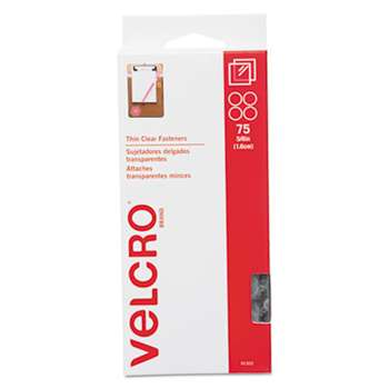 VELCRO USA, INC. Sticky-Back Hook and Loop Fasteners, 5/8 Inch Diameter, Clear, 75/Pack