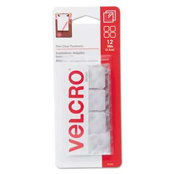 VELCRO USA, INC. Sticky-Back Hook and Loop Fastener Squares, 7/8 Inch, Clear