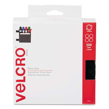 "VELCRO USA, INC. Sticky-Back? Fasteners, 3/4"" dia. Coins, Black, 200/BX"